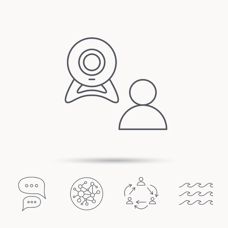web conference: Video chat icon. Webcam chatting sign. Web conference symbol. Global connect network, ocean wave and chat dialog icons. Teamwork symbol. Illustration
