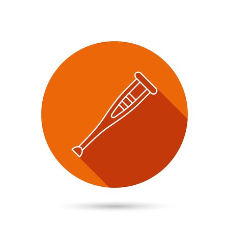 medical equipment: Crutch icon. Orthopedic therapy sign. Medical care equipment symbol. Round orange web button with shadow.