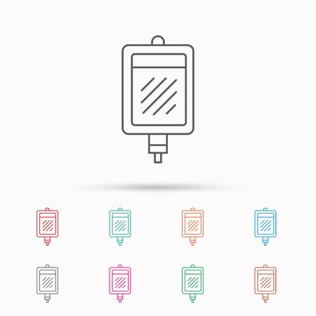 transfuse: Blood donation icon. Medicine drop counter sign. Linear icons on white background.
