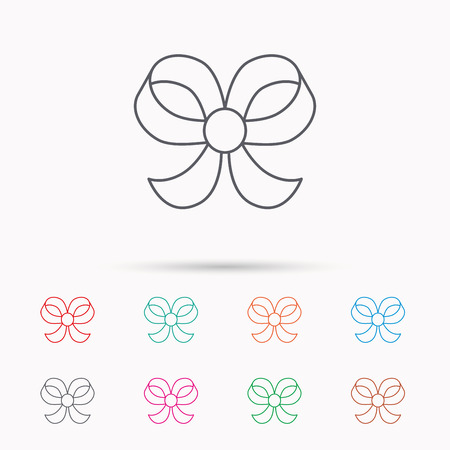 bowknot: Bow icon. Gift bow-knot sign. Linear icons on white background.