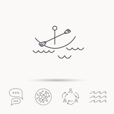 boating: Kayaking on waves icon. Boating or rafting sign. Canoeing extreme sport symbol. Global connect network, ocean wave and chat dialog icons. Teamwork symbol. Illustration