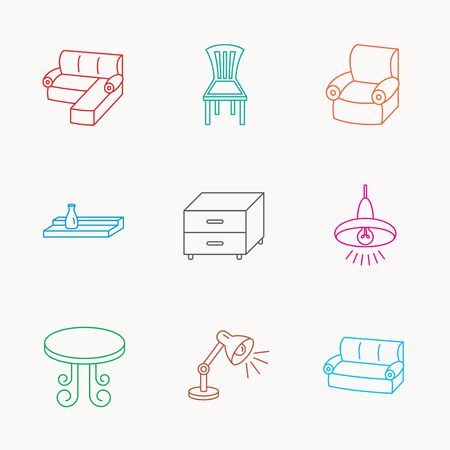 nightstand: Corner sofa, table and armchair icons. Chair, ceiling lamp and nightstand linear signs. Wall shelf furniture flat line icons. Linear colored icons. Illustration