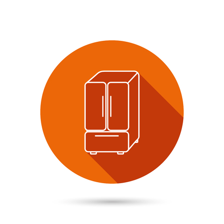 frig: American fridge icon. Refrigerator sign. Round orange web button with shadow.