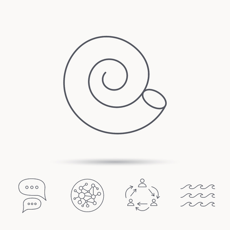 mollusk: Sea shell icon. Spiral seashell sign. Mollusk shell symbol. Global connect network, ocean wave and chat dialog icons. Teamwork symbol.