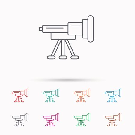 spyglass: Telescope icon. Spyglass sign. Astronomy magnify lens symbol. Linear icons on white background. Illustration