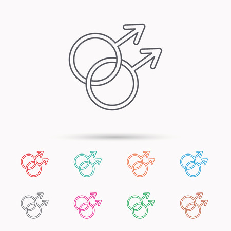 Gay couple icon. Homosexual sign. Linear icons on white background.