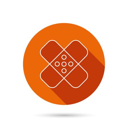 maim: Medical plaster icon. Injury fix sign. Round orange web button with shadow.