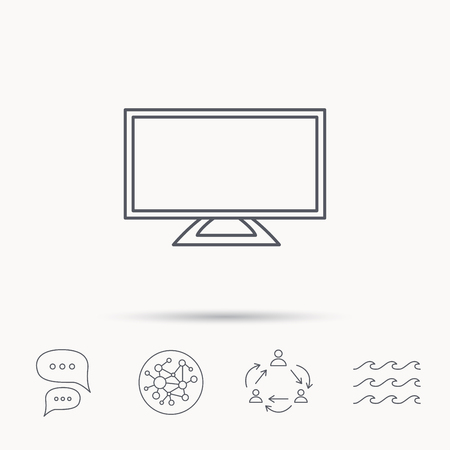 lcd display: Lcd tv icon. Led monitor sign. Widescreen display symbol. Global connect network, ocean wave and chat dialog icons. Teamwork symbol. Illustration