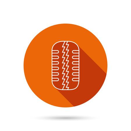 flaring: Tire tread icon. Car wheel sign. Round orange web button with shadow.