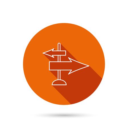 travel guide: Direction arrows icon. Destination way sign. Travel guide symbol. Round orange web button with shadow. Illustration