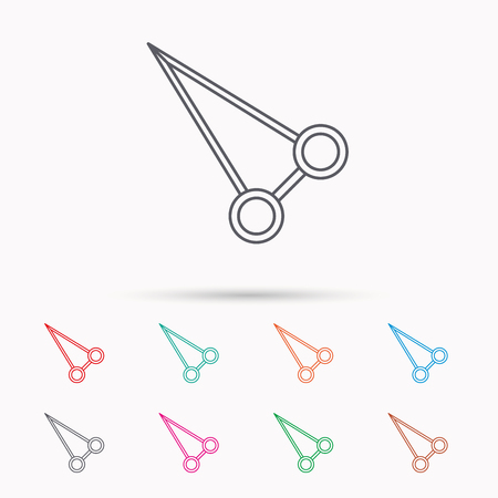 hemostat: Pean forceps icon. Medical surgery tool sign. Linear icons on white background.