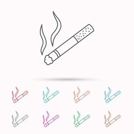 smoking place: Smoking allowed icon. Yes smoke sign. Linear icons on white background.