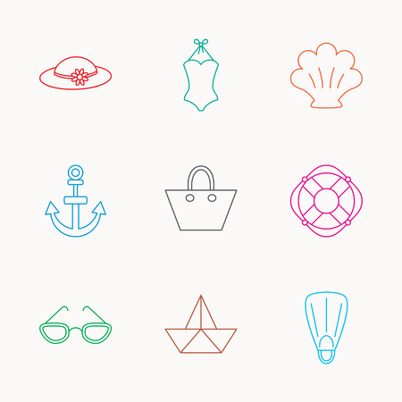 glases: Paper boat, shell and swimsuit icons. Lifebuoy, glases and women hat linear signs. Anchor, ladies handbag icons. Linear colored icons.