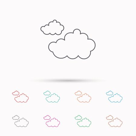 overcast: Cloudy icon. Overcast weather sign. Meteorology symbol. Linear icons on white background. Illustration