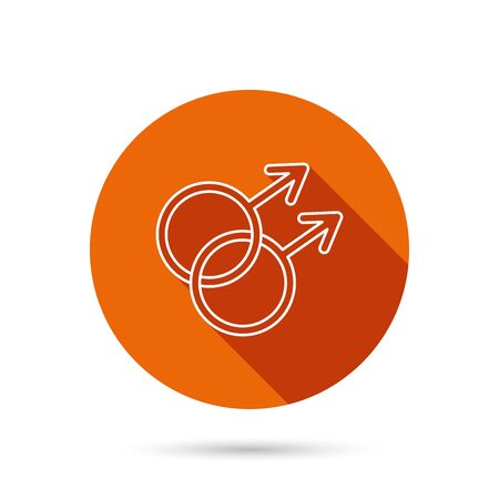Gay couple icon. Homosexual sign. Round orange web button with shadow. Illustration