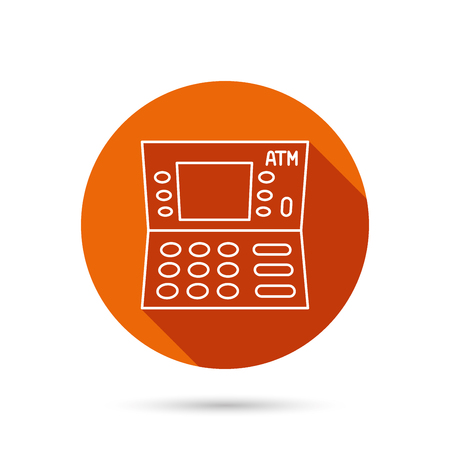 automatic transaction machine: ATM icon. Automatic cash withdrawal sign. Round orange web button with shadow.