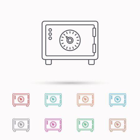 combination safe: Safe icon. Money deposit sign. Combination lock symbol. Linear icons on white background.