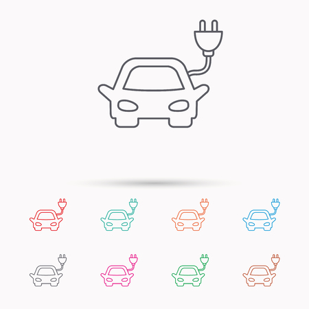 hybrid: Electric car icon. Hybrid auto transport sign. Linear icons on white background.