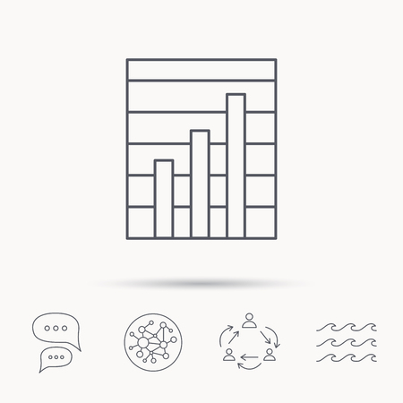 demand: Chart icon. Graph diagram sign. Demand growth symbol. Global connect network, ocean wave and chat dialog icons. Teamwork symbol.