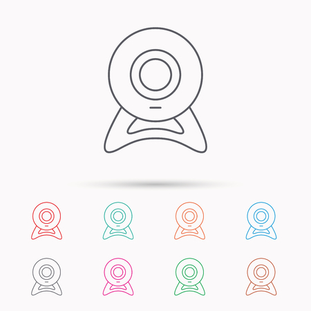 web cam: Web cam icon. Video camera sign. Online communication symbol. Linear icons on white background.