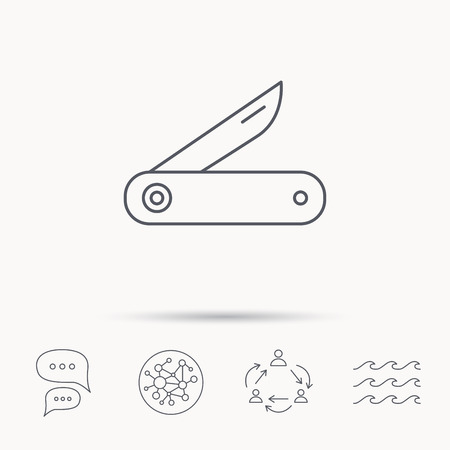knive: Multitool knife icon. Multifunction tool sign. Hiking equipment symbol. Global connect network, ocean wave and chat dialog icons. Teamwork symbol.