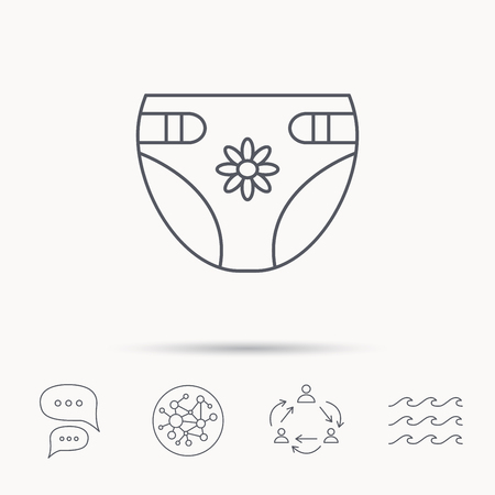 incontinence: Diaper with flower icon. Child underwear sign. Newborn protection symbol. Global connect network, ocean wave and chat dialog icons. Teamwork symbol. Illustration