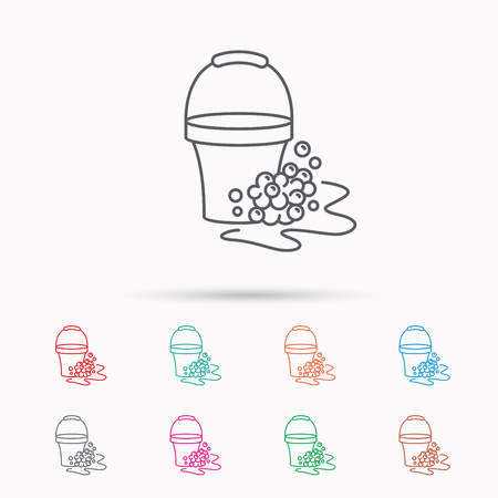 soapy: Soapy cleaning icon. Bucket with foam and bubbles sign. Linear icons on white background.