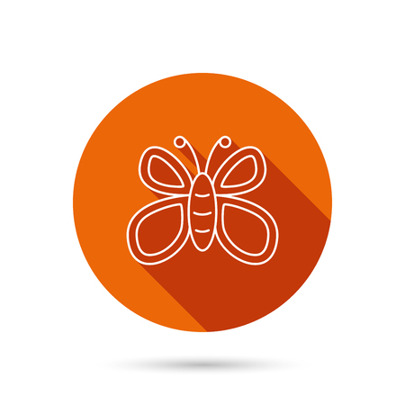 lepidoptera: Butterfly icon. Flying lepidoptera sign. Dreaming symbol. Round orange web button with shadow.