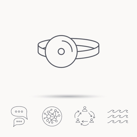 otorhinolaryngology: Medical mirror icon. ORL medicine sign. Otorhinolaryngology diagnosis tool symbol. Global connect network, ocean wave and chat dialog icons. Teamwork symbol.