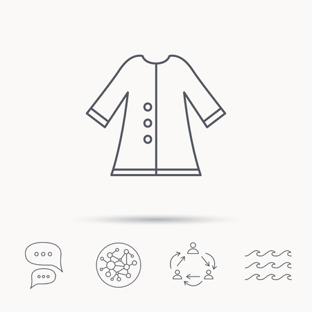 outerwear: Cloak icon. Protection jacket outerwear sign. Gardening clothes symbol. Global connect network, ocean wave and chat dialog icons. Teamwork symbol.