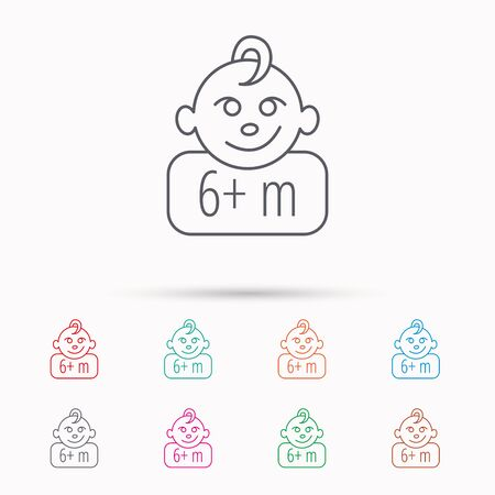 plus symbol: Baby face icon. Newborn child sign. Use of six months and plus symbol. Linear icons on white background.