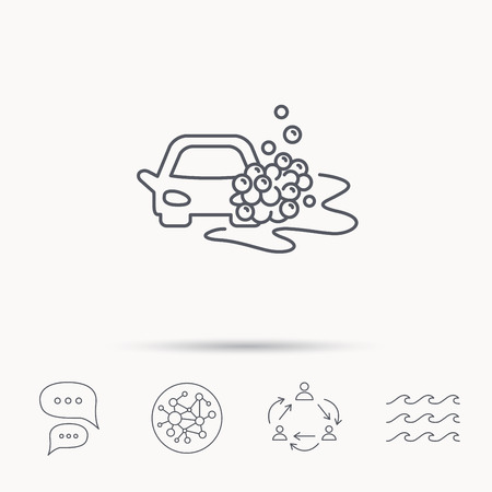 foam bubbles: Car wash icon. Cleaning station sign. Foam bubbles symbol. Global connect network, ocean wave and chat dialog icons. Teamwork symbol. Illustration