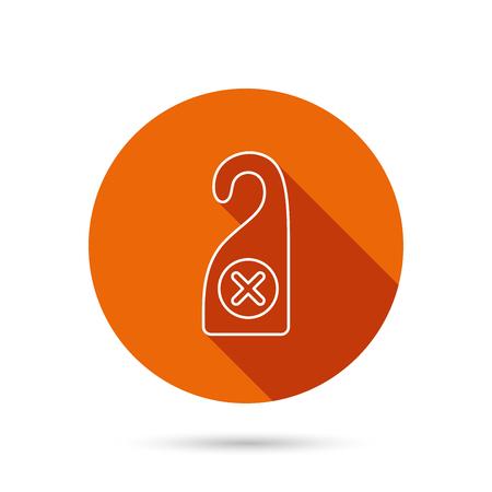 maid service: Do not disturb icon. Sleep door hanger sign. Hotel maid service symbol. Round orange web button with shadow.