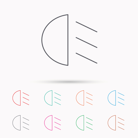 dipped: Passing light icon. Dipped beam sign. Linear icons on white background. Illustration