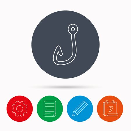 angling: Fishing hook icon. Fisherman equipment sign. Angling symbol. Calendar, cogwheel, document file and pencil icons.
