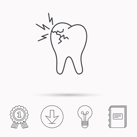 sensitive: Toothache icon. Dental healthcare sign. Download arrow, lamp, learn book and award medal icons. Illustration