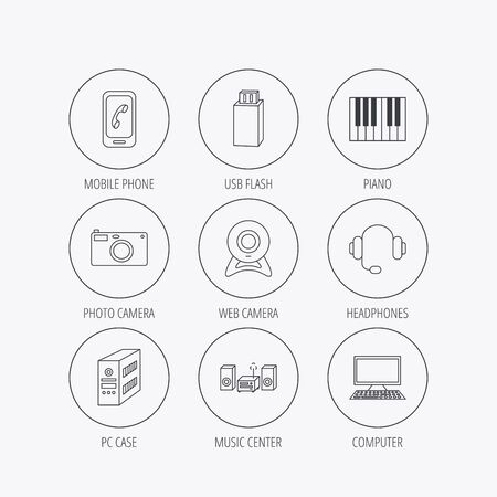 pc case: Photo camera, headphones and Usb flash icons. PC case, computer with monitor and web camera linear signs. Piano icons. Linear colored in circle edge icons. Illustration