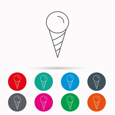 frozen food: Ice cream icon. Sweet dessert in waffle cone sign. Frozen food symbol. Linear icons in circles on white background.