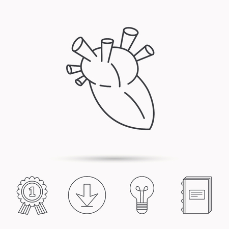 transplant: Heart icon. Human organ sign. Surgical transplantation symbol. Download arrow, lamp, learn book and award medal icons.