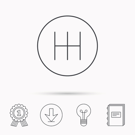 car transmission: Manual gearbox icon. Car transmission sign. Download arrow, lamp, learn book and award medal icons.