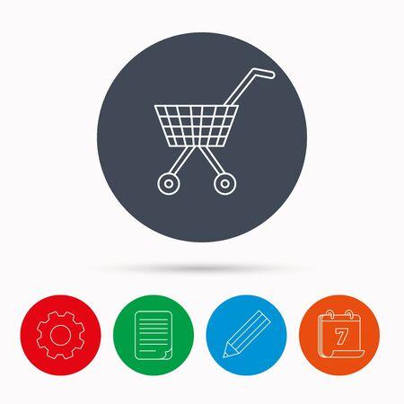 affiliation: Shopping cart icon. Market buying sign. Calendar, cogwheel, document file and pencil icons. Illustration