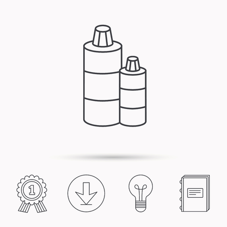 shampoo bottles: Shampoo bottles icon. Liquid soap sign. Download arrow, lamp, learn book and award medal icons. Illustration