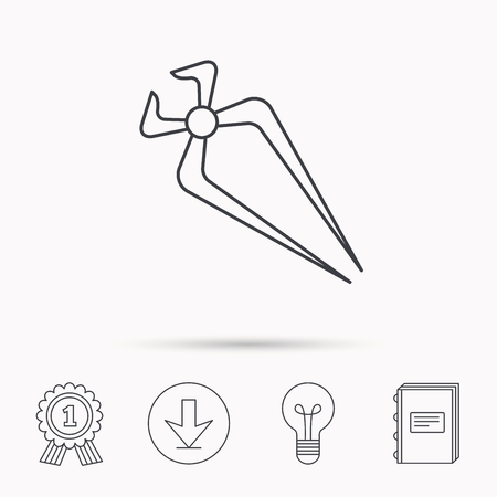 repairing: Nippers icon. Repairing service tool sign. Download arrow, lamp, learn book and award medal icons. Illustration