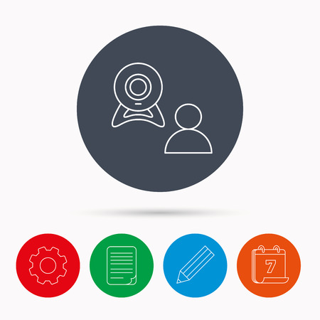 video chat: Video chat icon. Webcam chatting sign. Web conference symbol. Calendar, cogwheel, document file and pencil icons. Illustration