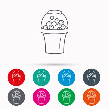 soapy: Bucket with foam icon. Soapy cleaning sign. Linear icons in circles on white background. Illustration