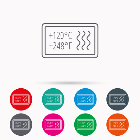 resistant: Heat resistant icon. Microwave or dishwasher information sign. Attention symbol. Linear icons in circles on white background. Illustration
