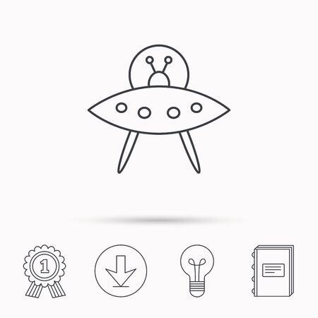 martians: UFO icon. Unknown flying object sign. Martians symbol. Download arrow, lamp, learn book and award medal icons.