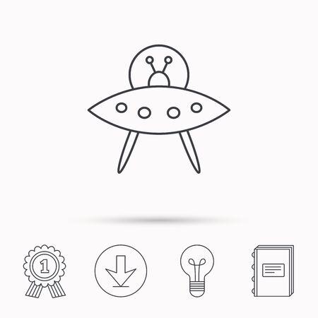 icono de OVNI. Desconocido signo objeto volador. símbolo marcianos. Descarga flecha, lámpara, aprender de libros y de concesión de medallas iconos.