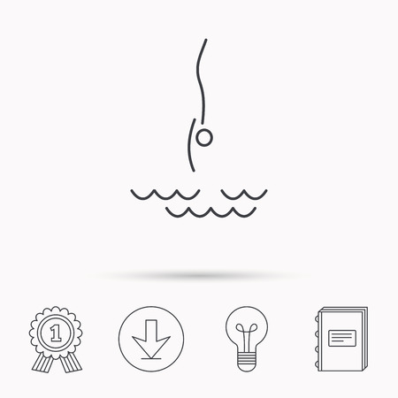 jumping into water: Diving icon. Jumping into water sign. Professional swimming sport symbol. Download arrow, lamp, learn book and award medal icons. Illustration