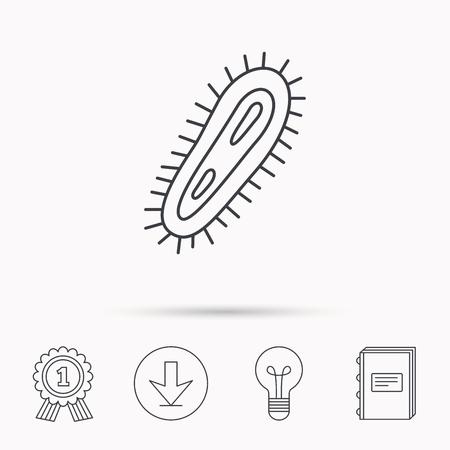 microbio: icono de bacterias. s�mbolo de la infecci�n medicina. Bacteria o microbio signo. Descarga flecha, l�mpara, aprender de libros y de concesi�n de medallas iconos.